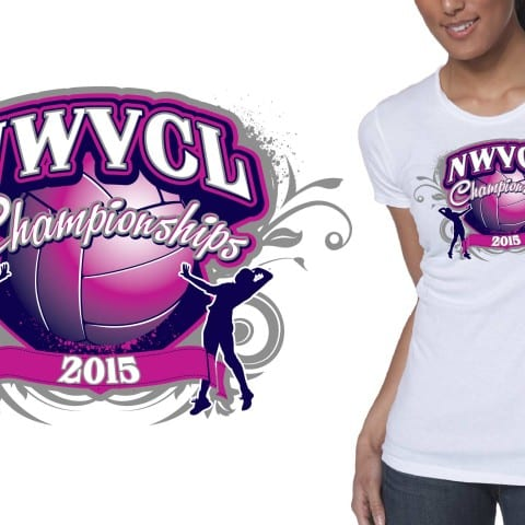 2015 NWVCL Championships volleyball tshirt design