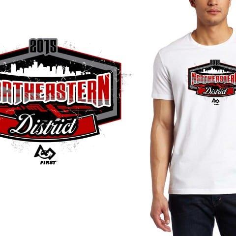 2015 Northeastern District cool robotics tshirt logo design by urartstudio