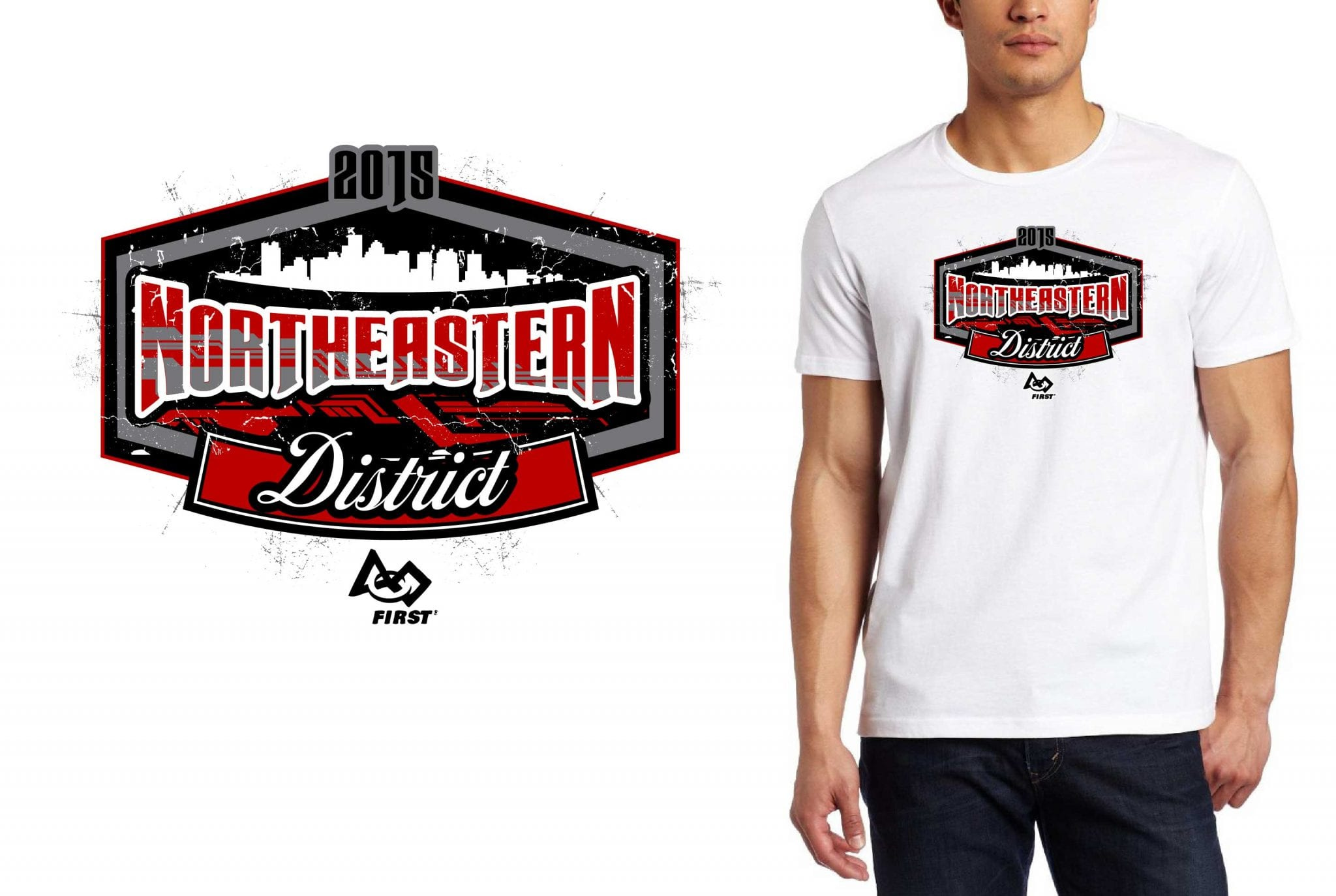 2015 Northeastern District cool robotics tshirt logo design