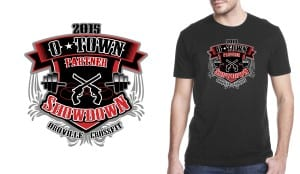 2015 O-town Partner Showdown professional tshirt logo design for weight lifting