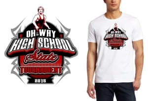 2015 OH-WAY High School State Tournament wrestling tshirt design
