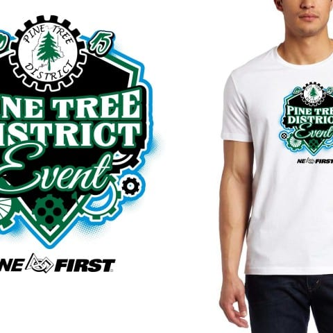 2015 Pine Tree District FIRST Robotics Competition color separated vector logo design for t shirt for robotics2015 Pine Tree District FIRST Robotics Competition color separated vector logo design for t shirt for robotics