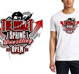 2015 The Rocket Spring Wrestling Open tshirt design