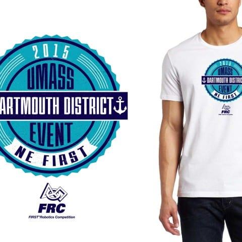 2015 UMASS District cool robotics tshirt logo design by urartstudio