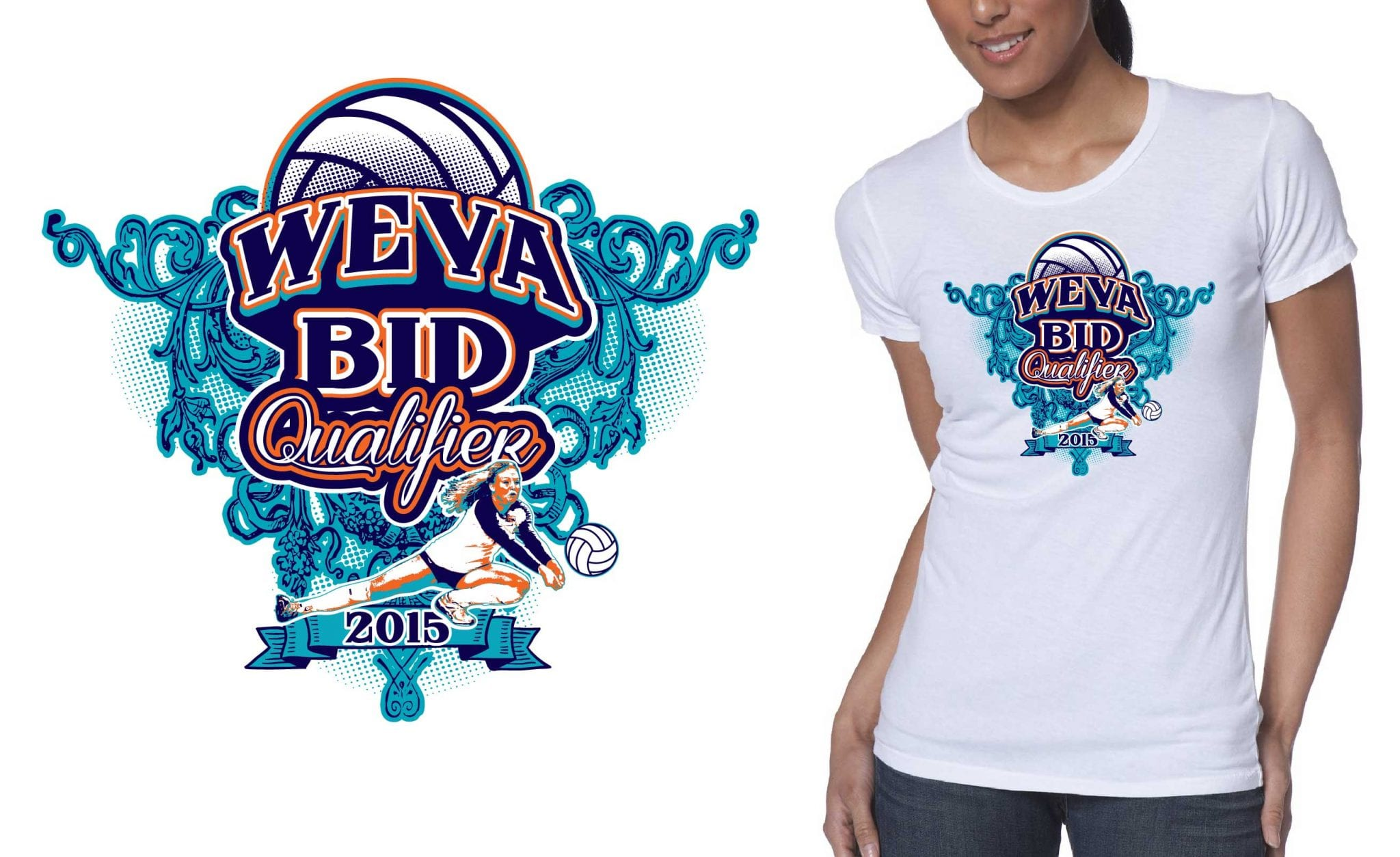 Professional Volleyball Vector Tshirt Design For 2015 Weva Regional