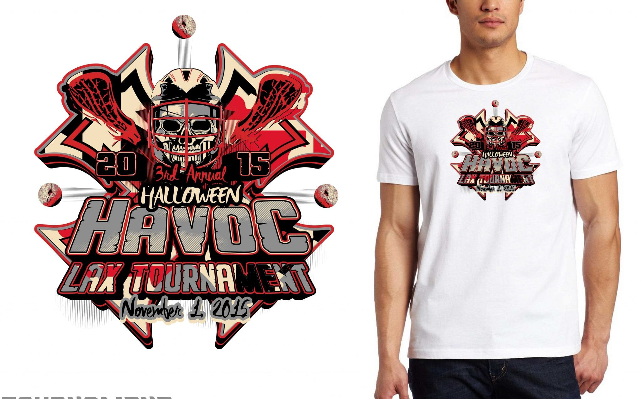 2015 MD Halloween Havoc Tournament of Champions Qualifie tshirt hockey logo design