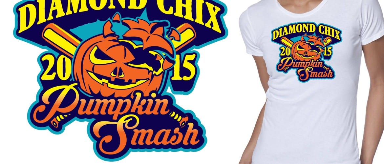 Diamond Chix Pumpkin Smash crazy tshirt logo design