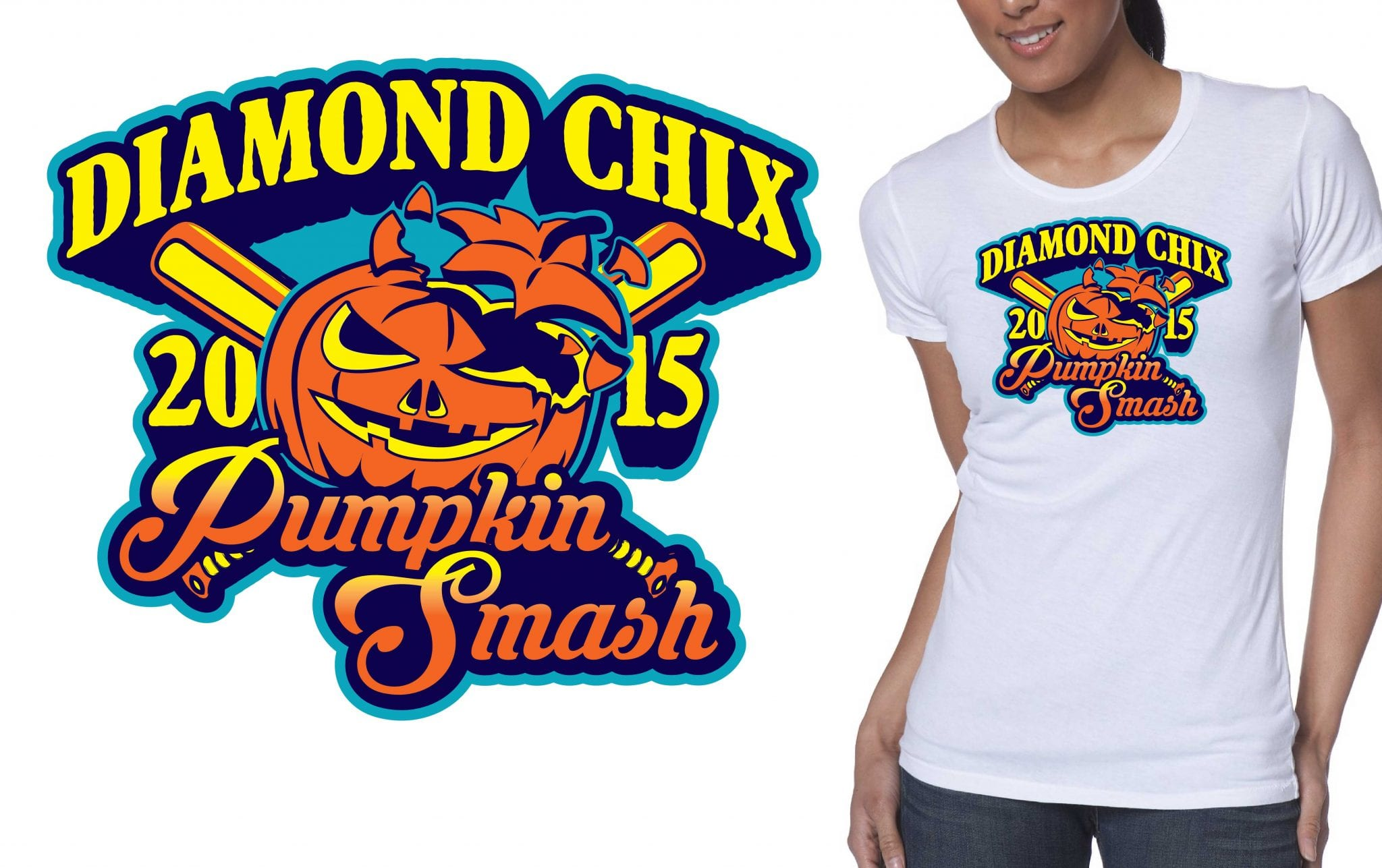 Diamond Chix Pumpkin Smash crazy tshirt logo design