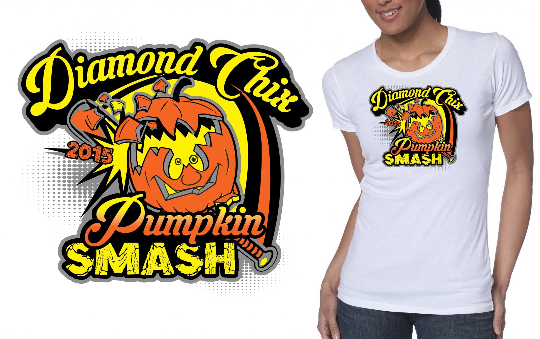 Diamond Chix Pumpkin Smash crazy tshirt logo design 2