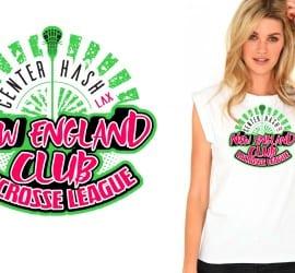 New England Club Lacrosse League awesome tshirt design