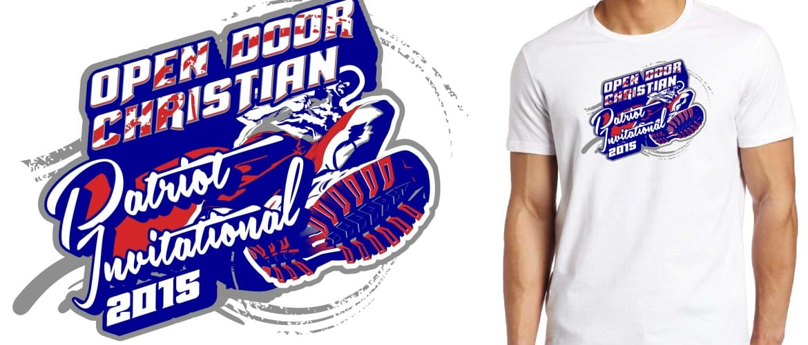Open Door Christian 28th Annual Invitational track and field cool tshirt logo design