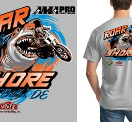 Roar at the Shore ama pro flat track cool tshirt design