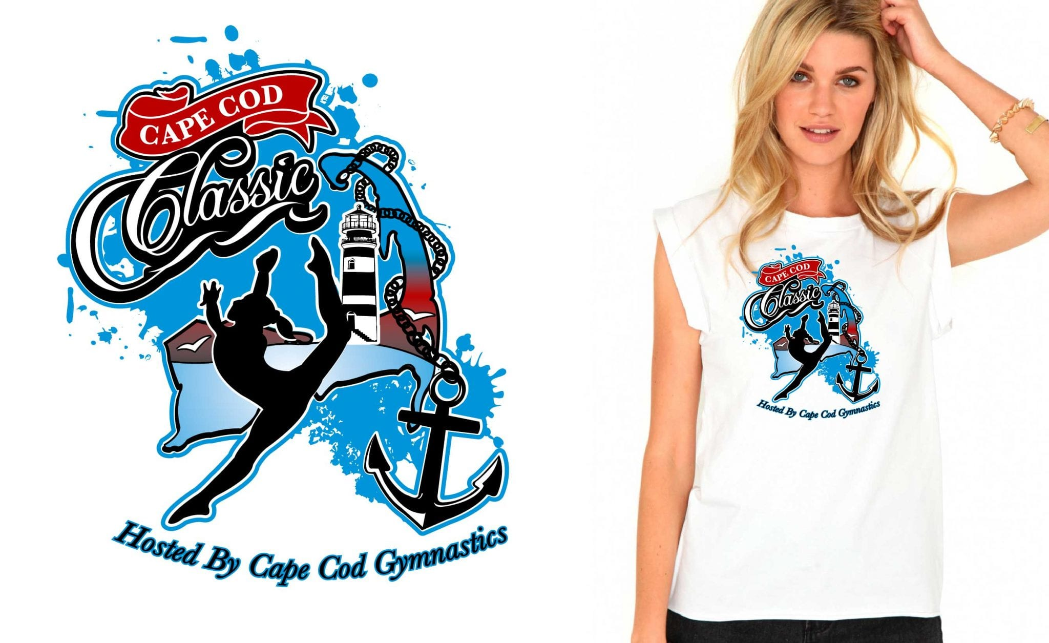 Amazing gymnastic logo design vector art for tshirt 2015 Cape Cod Classic