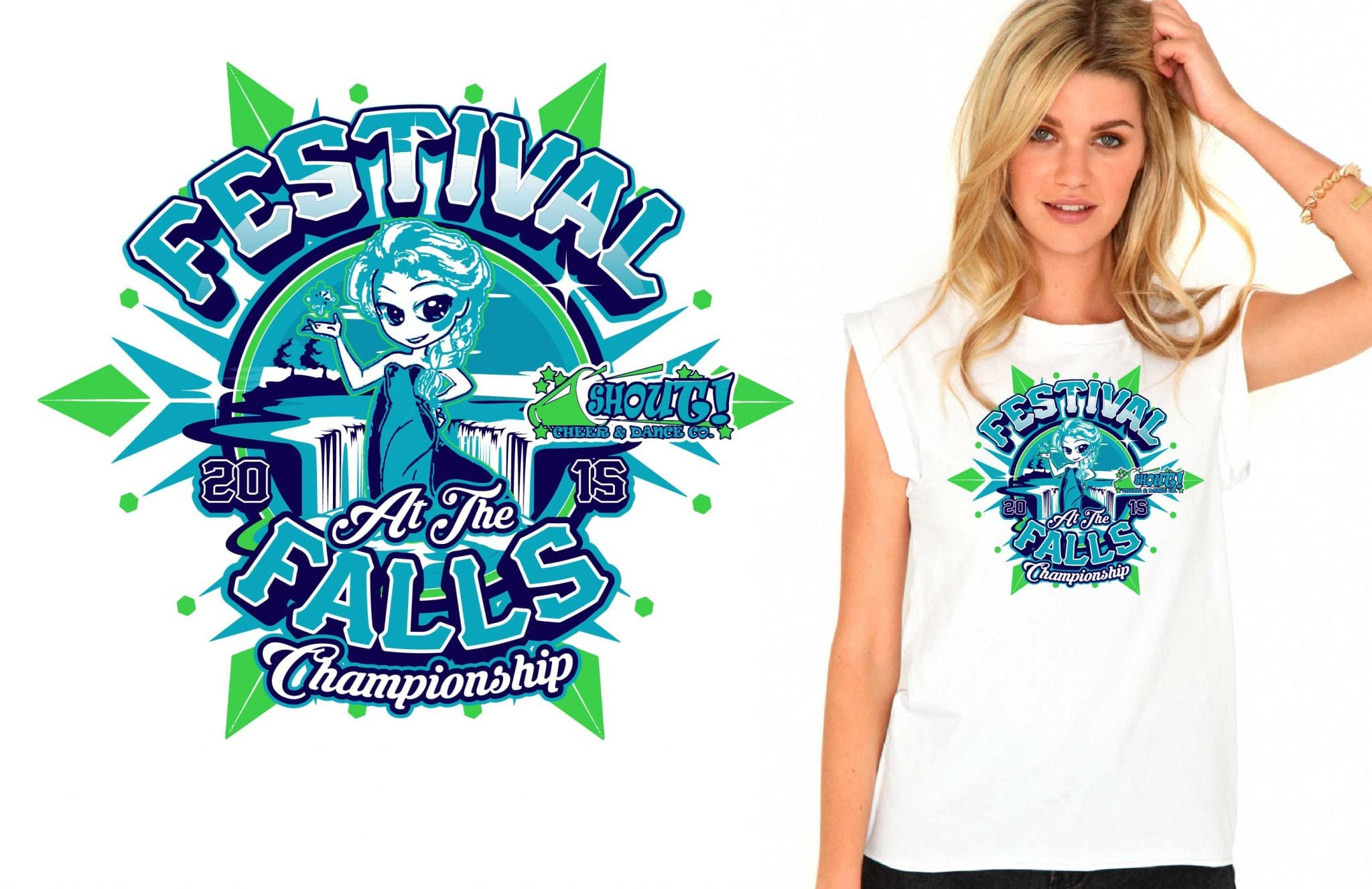 Cheer and Dance creative logo design for shirt by UrArtStudio.com 2015 Festival at the Falls Championship