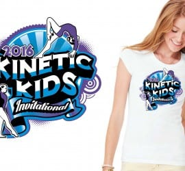 2016 Kinetic Kids Invitational girls gymnastic cool tshirt vector logo design by UrArtStudio