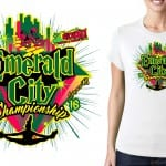 Best cool looking cheer vector logo design for tshirt, 2016 Emerald City Championship