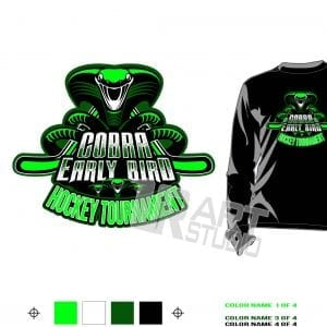 DOWNLOAD COBRA EARLY BIRD cool hockey tshirt vector design 4 colors separated for print layered