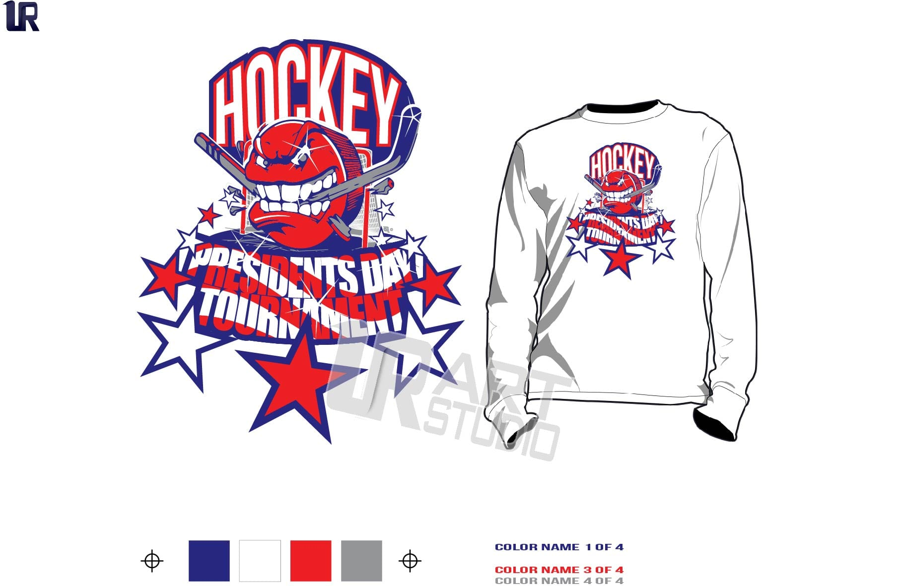 Presidents Day Cool Hockey Tshirt Vector Design 4 Colors