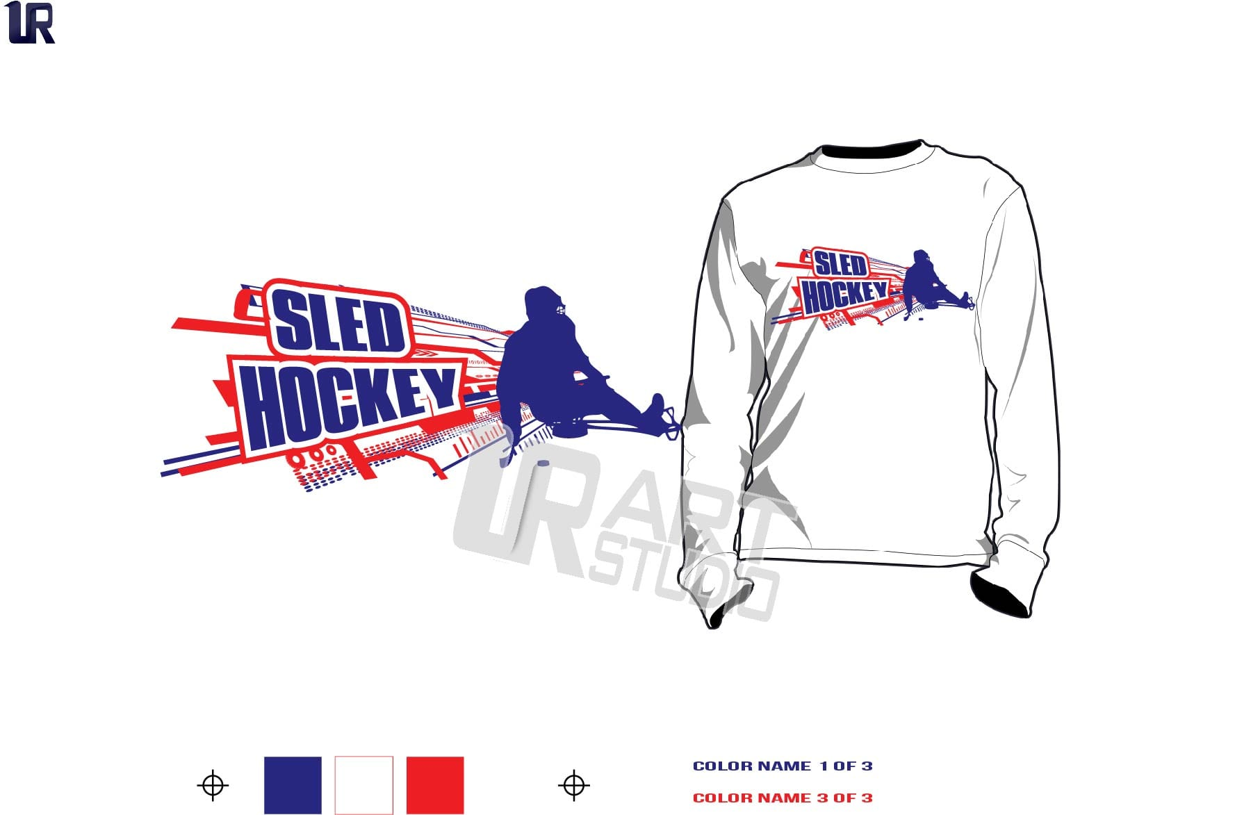 SLED HOCKEY tshirt vector design 3 colors separated for print layered