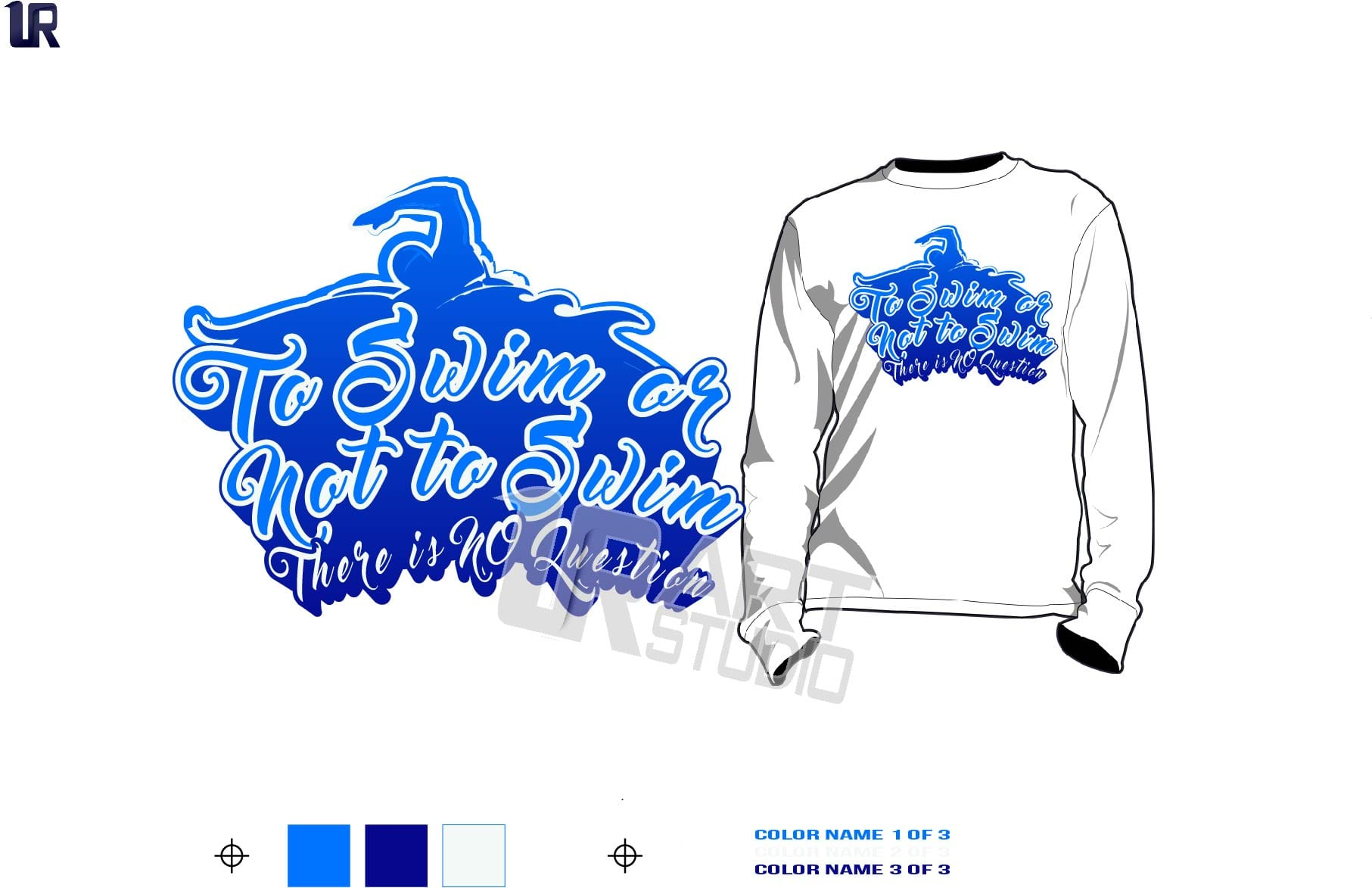 to Swim or Not to Swim There is No question vector design 3 colors separated for print on tshirt
