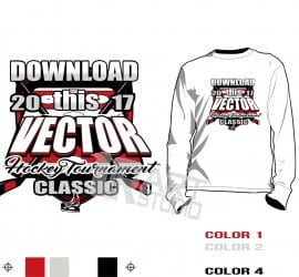 Hockey tshirt vector design, 4 colors, color separated