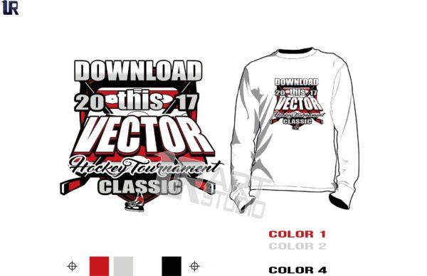 Hockey tshirt vector design, 4 colors, color separated