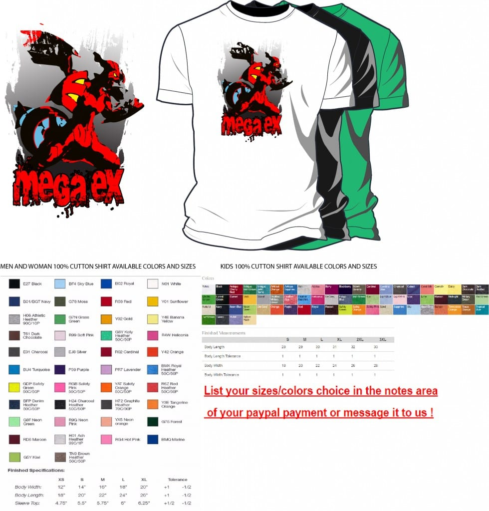 Mega EX vector artwork on tshirt