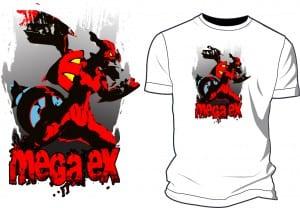 Mega EX vector artwork on tshirt