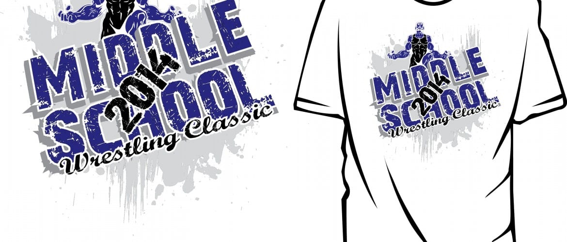 TSHIRT VECTOR LOGO DESIGN3 COLOR FOR 2014 Middle School Wrestling Classic print ready