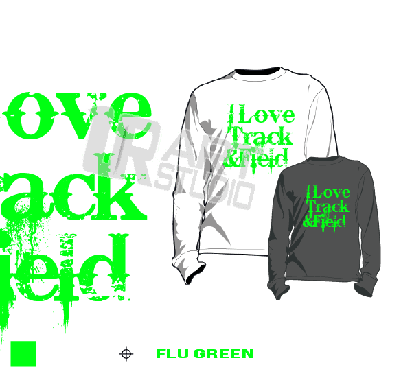 I LOVE TRACK AND FIELD FLU GREEN TSHIRT LOGO PRINT READY ONE COLOR