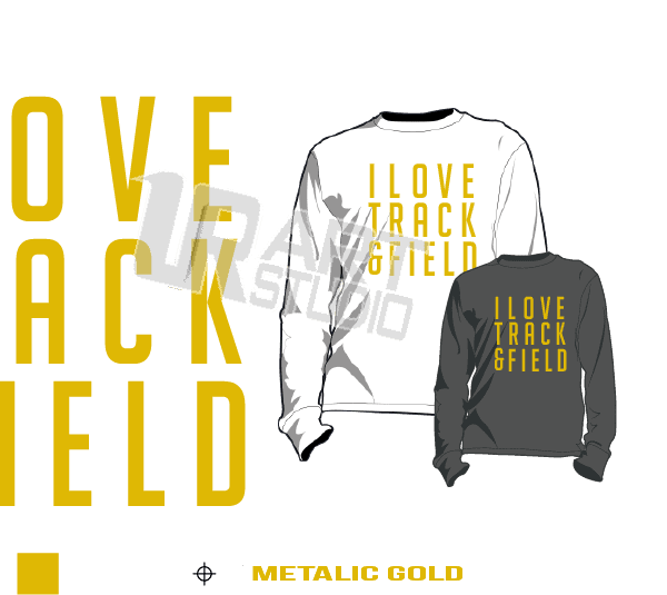I LOVE TRACK AND FIELD METALLIC GOLD TSHIRT LOGO PRINT READY ONE COLOR