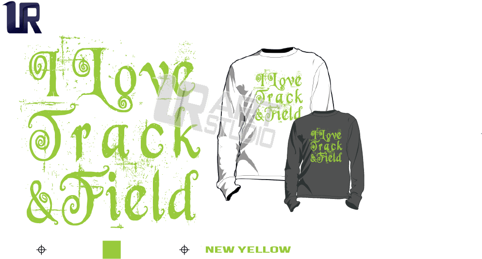 I LOVE TRACK AND FIELD NEW YELLOW TSHIRT LOGO PRINT READY ONE COLOR