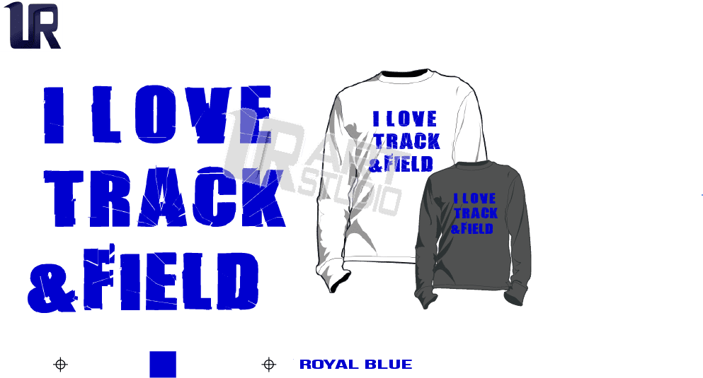 I LOVE TRACK AND FIELD ROYAL BLUE TSHIRT LOGO PRINT READY ONE COLOR