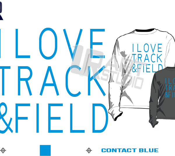 I LOVE TRACK AND FIELD contact blue TSHIRT LOGO PRINT READY DESIGN ONE COLOR