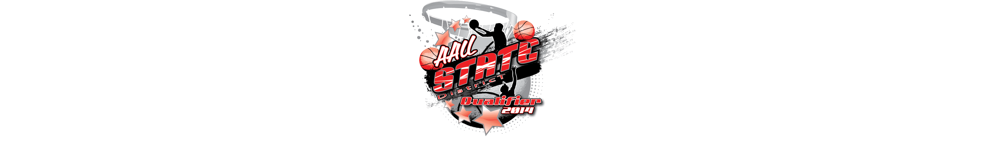 VECTOR LOGO DESIGN FOR PRINT AAU STATE DISTRICT QUALIFIER BASKETBALL EVENT