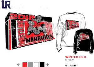 WRESTLING WARRIORS tshirt vector design separated 4 color
