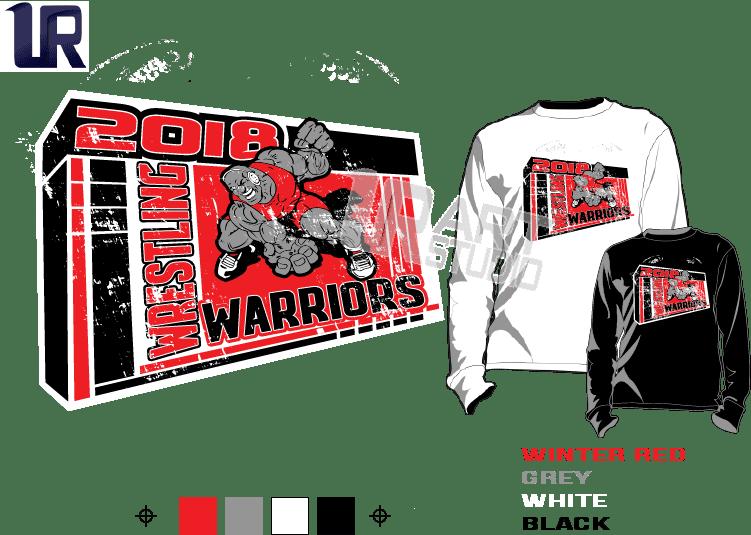 WRESTLING WARRIORS tshirt vector design separated 4 color