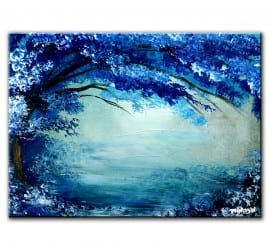 BLUE TREE IMPRESSIONISM FREE ART VIDEO LESSON BY DRANITSIN