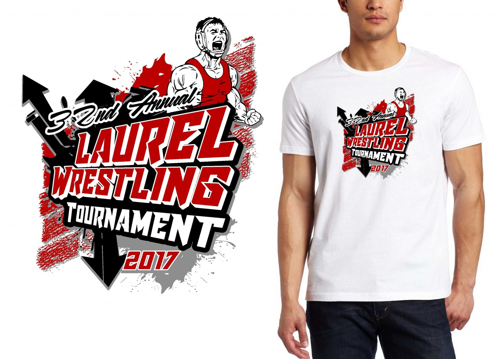 2017 31st Annual Laurel Wrestling Tournament vector logo design for t-shirt UrArtStudio