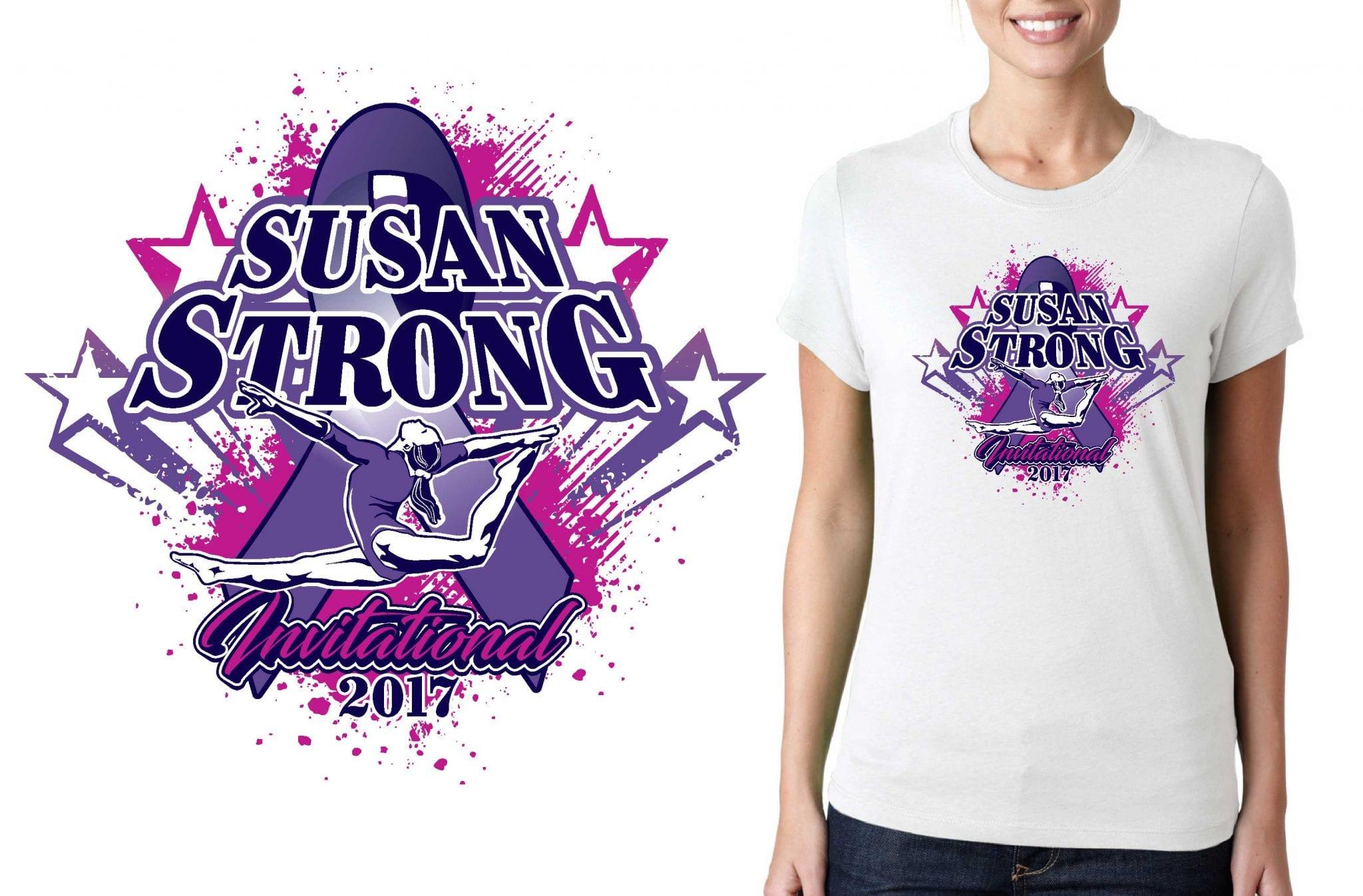 2017 Susan Strong Invitational vector logo design for gymnastics t-shirt UrArtStudio