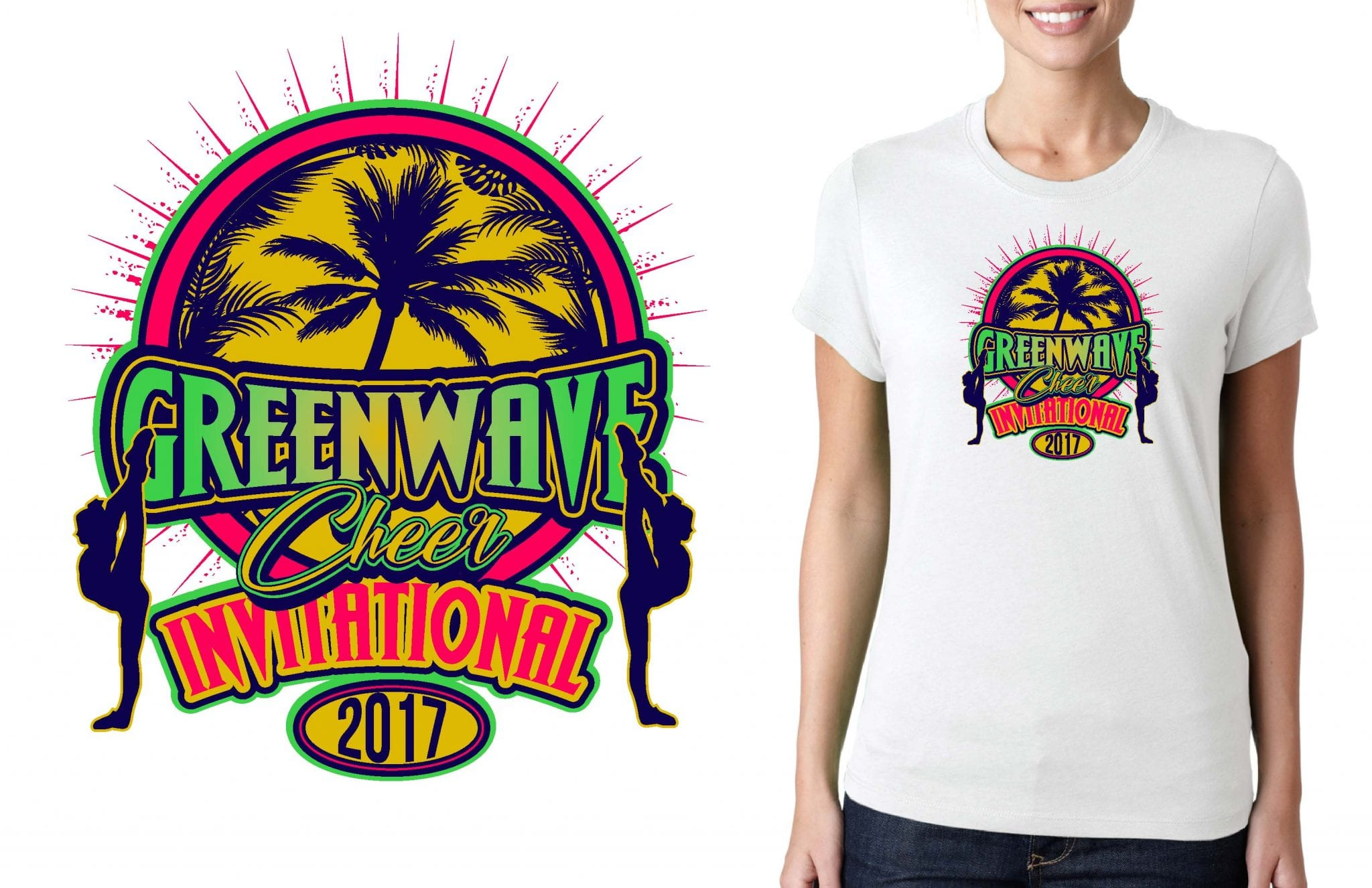 CHEER LOGO for Greenwave Invitational for T-SHIRT UrArtStudio