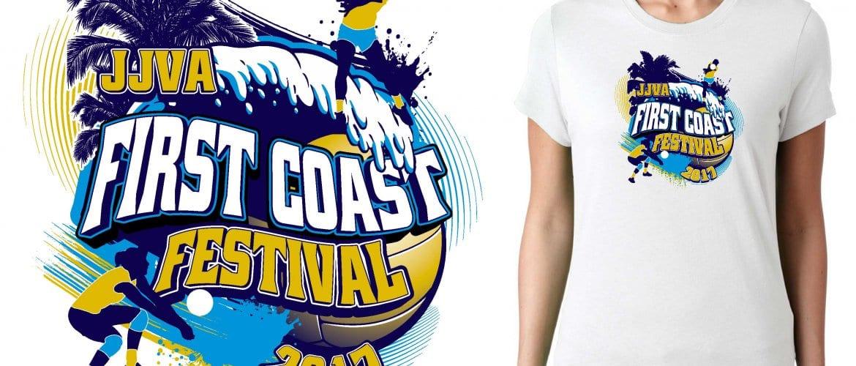 2017 First Coast Festival vector logo design for volleyball t-shirt UrArtStudio