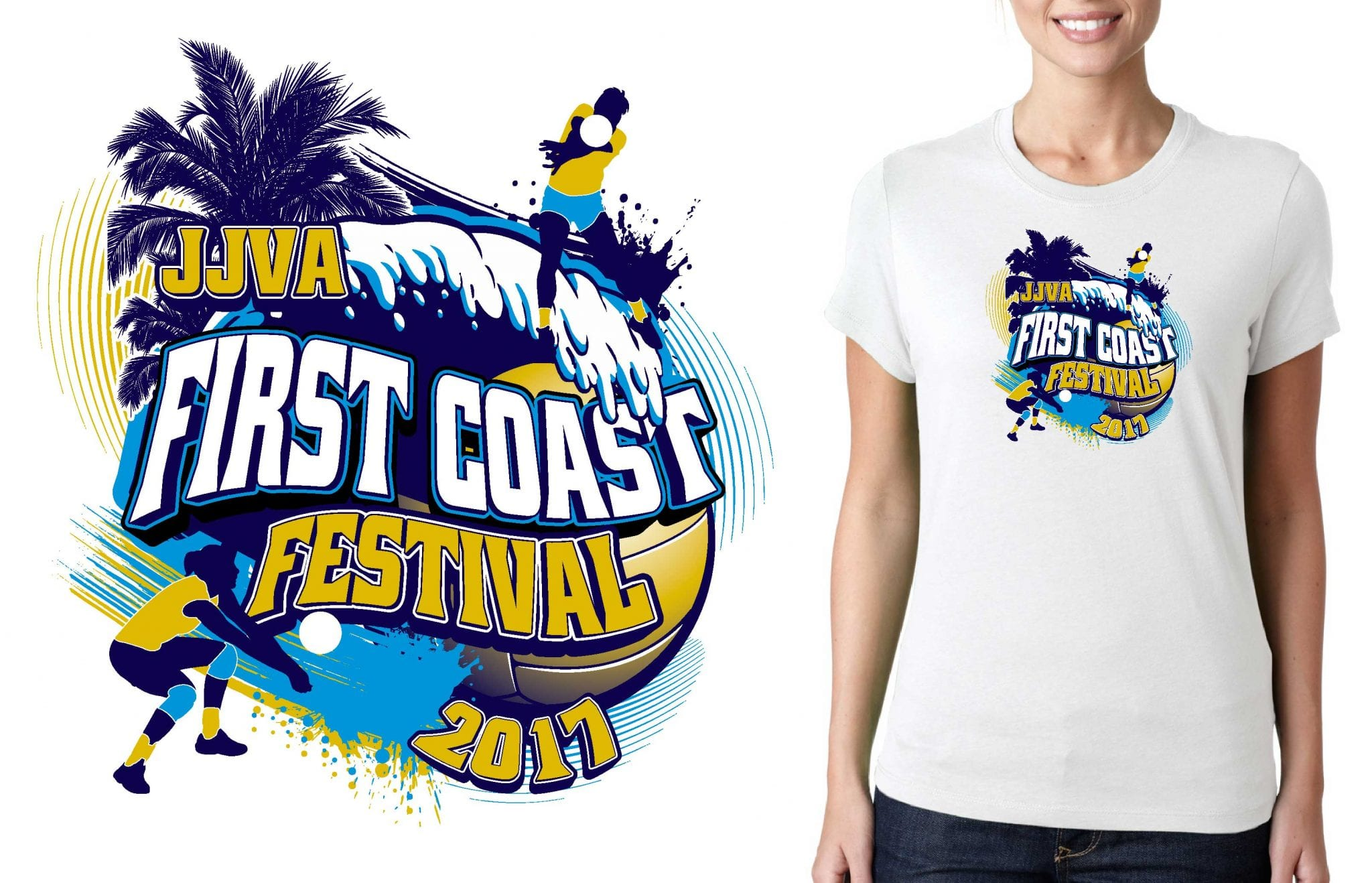 2017 First Coast Festival vector logo design for volleyball t-shirt UrArtStudio