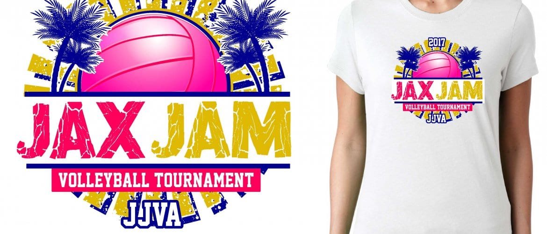 2017 JAX Jam vector logo design for basketball t-shirt UrArtStudio