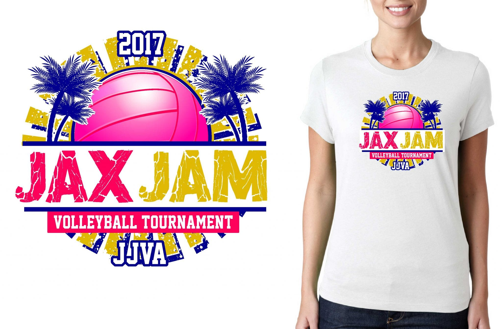 2017 JAX Jam vector logo design for basketball t-shirt UrArtStudio