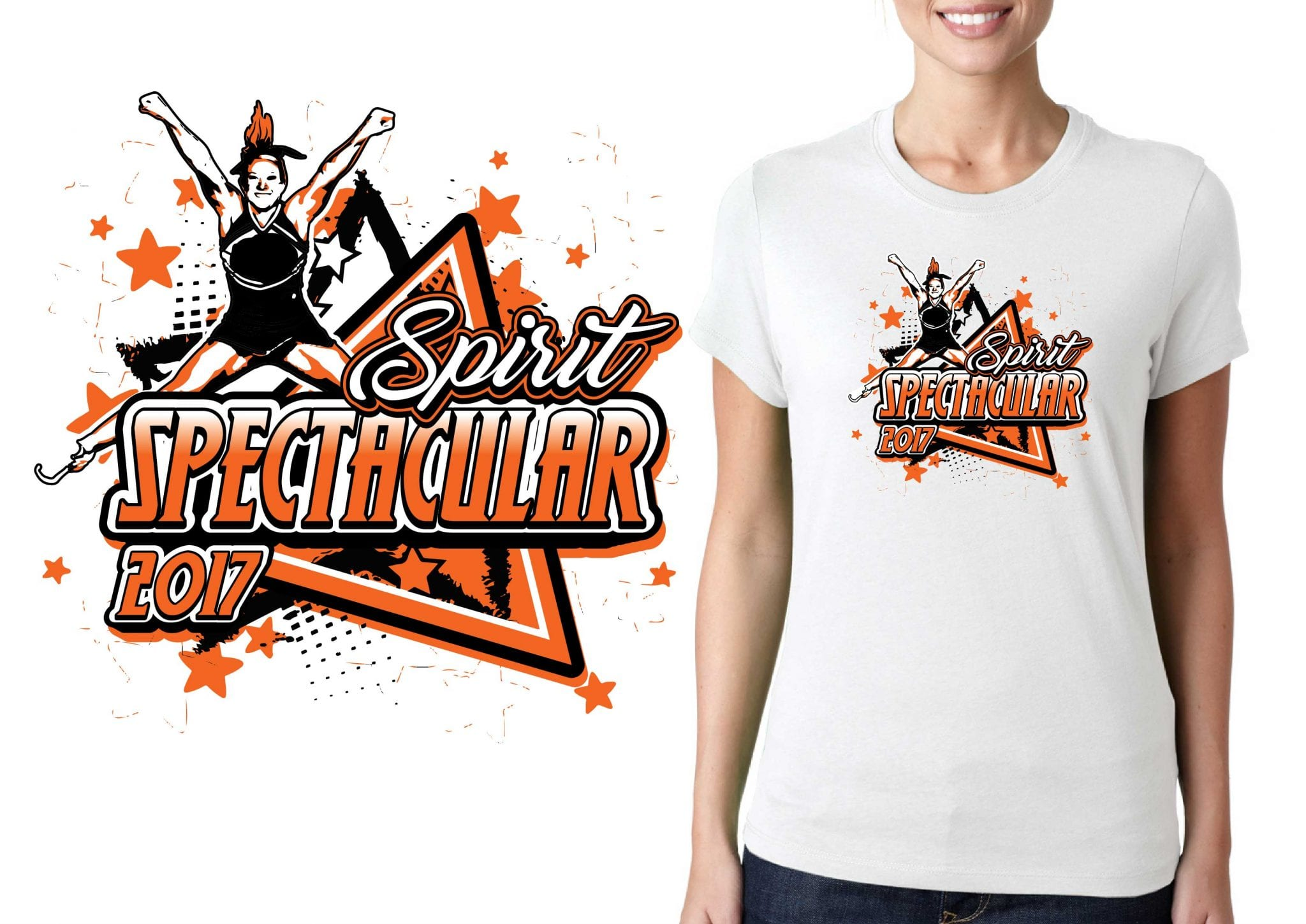 FRONT 2017 Spirit Spectacular vector logo design for cheer t-shirt UrArtStudio
