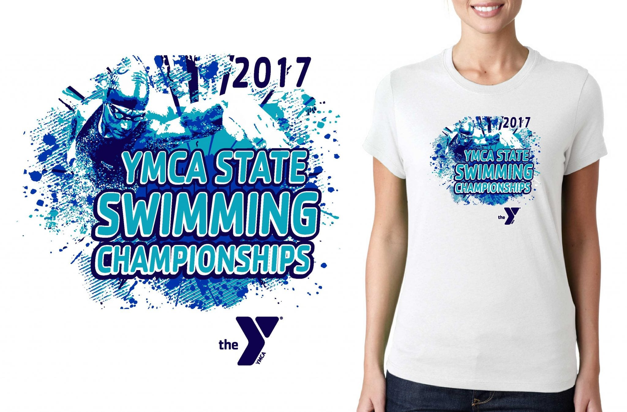 SWIMMING LOGO for YMCA-Swimming-State-Championships T-SHIRT UrArtStudio
