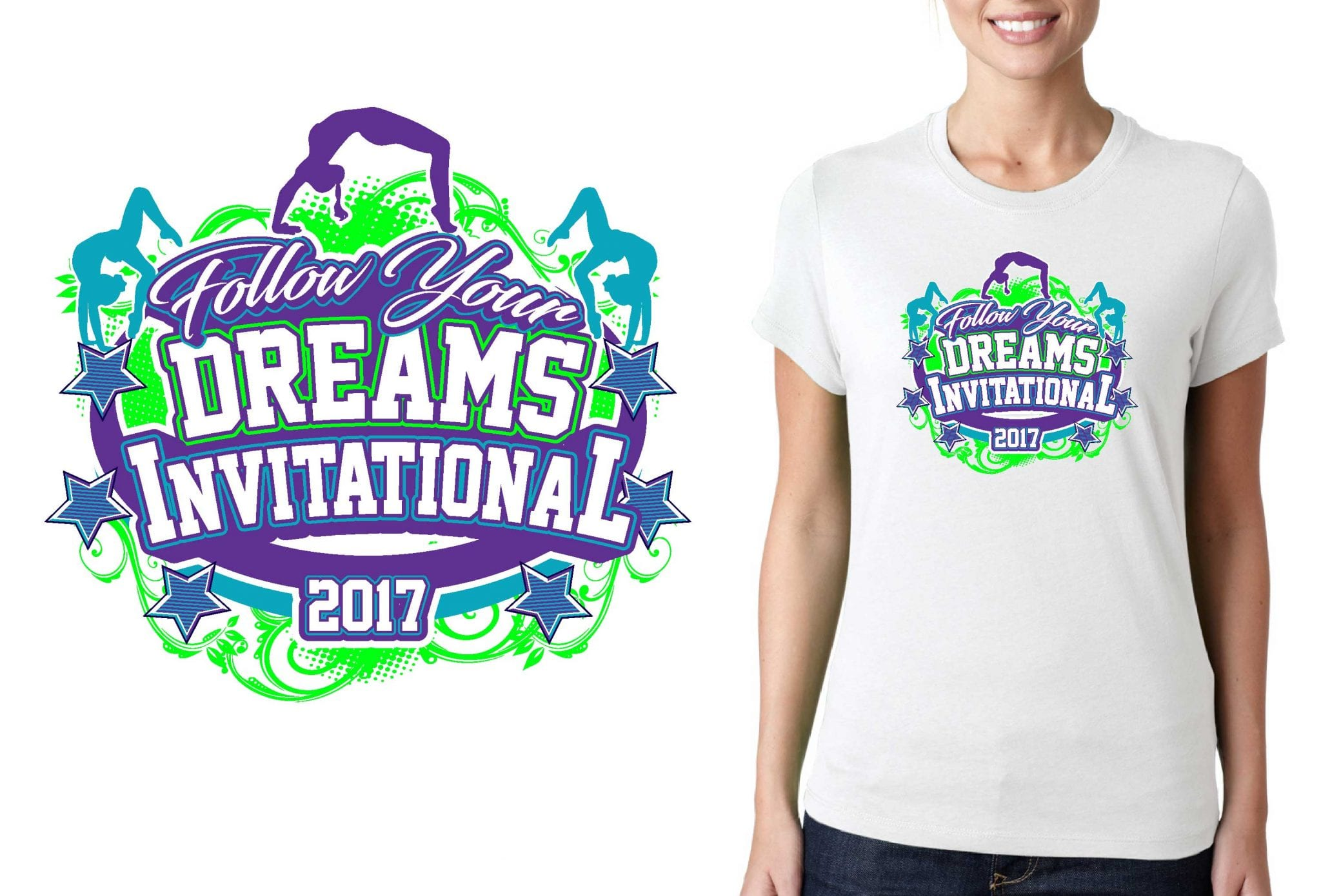 GYMNASTICS T SHIRT LOGO DESIGN Follow-Your-Dreams-Invitational BY UrArtStudio