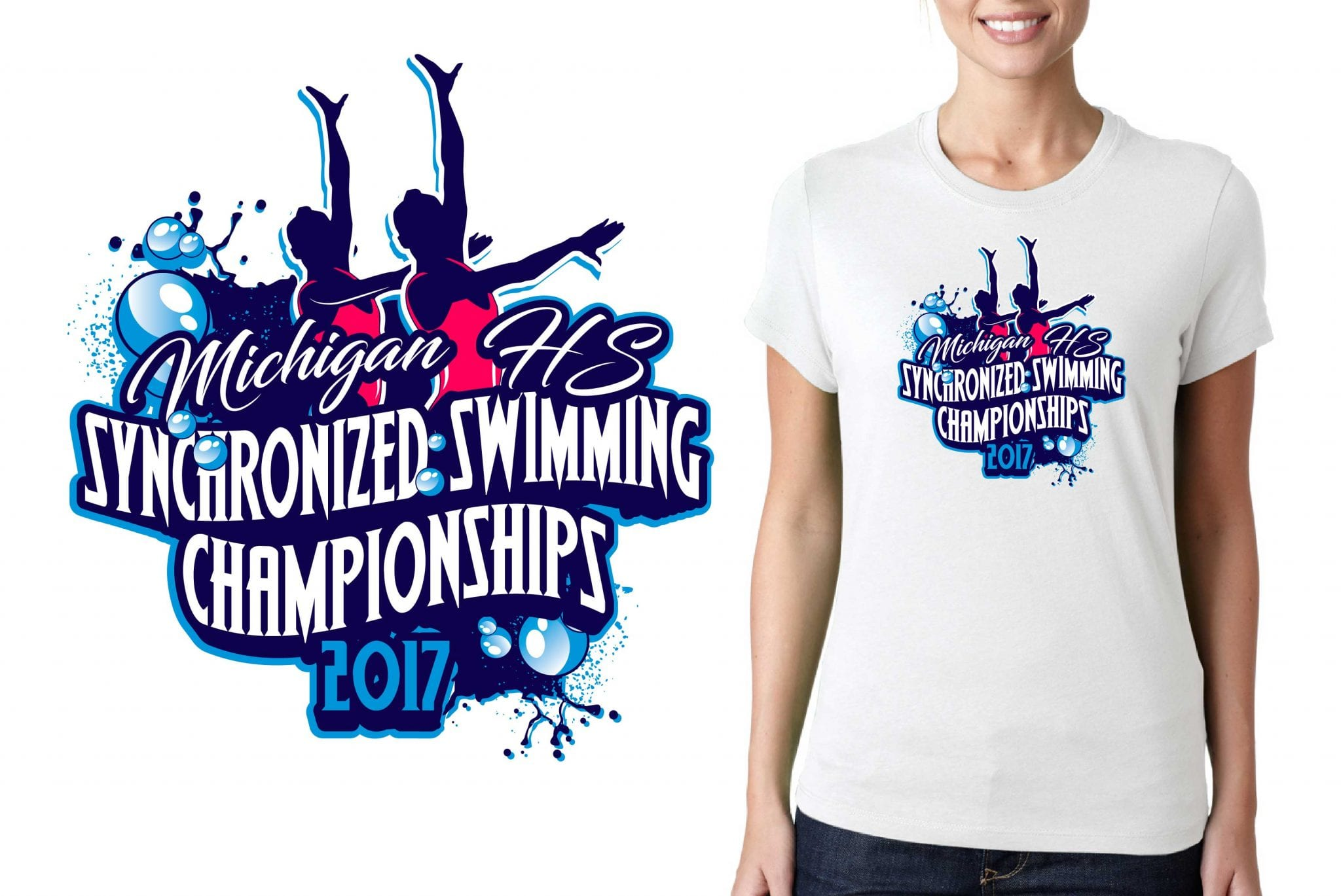 SYNCHRONIZED SWIMMING LOGO for Routine-States T-SHIRT UrArtStudio