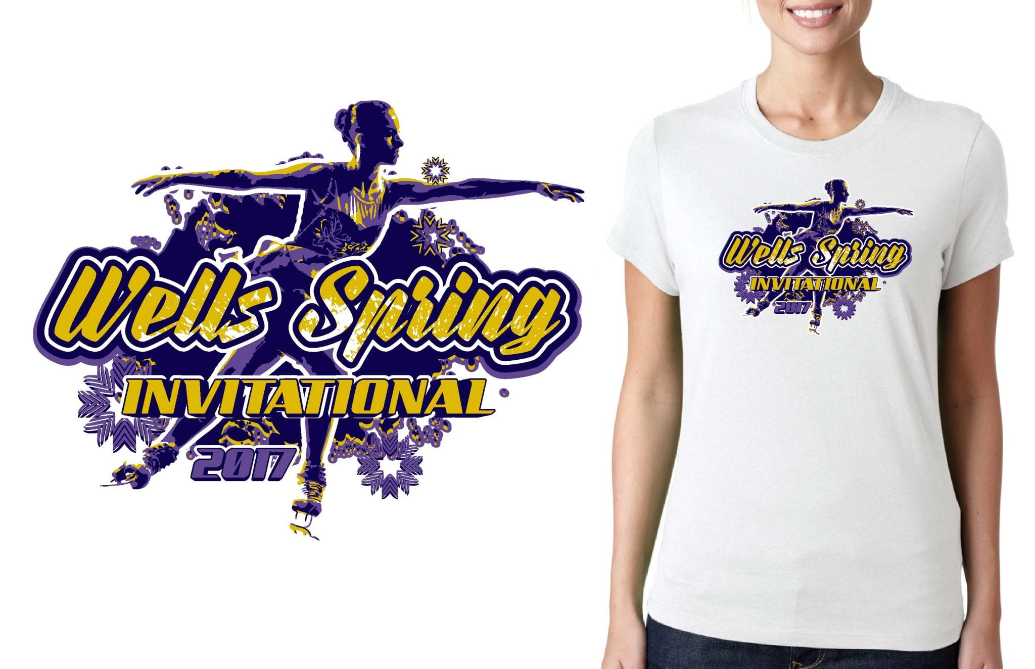 FIGURE SKATING TSHIRT LOGO DESIGN Wells-Spring-Invitational UrArtStudio